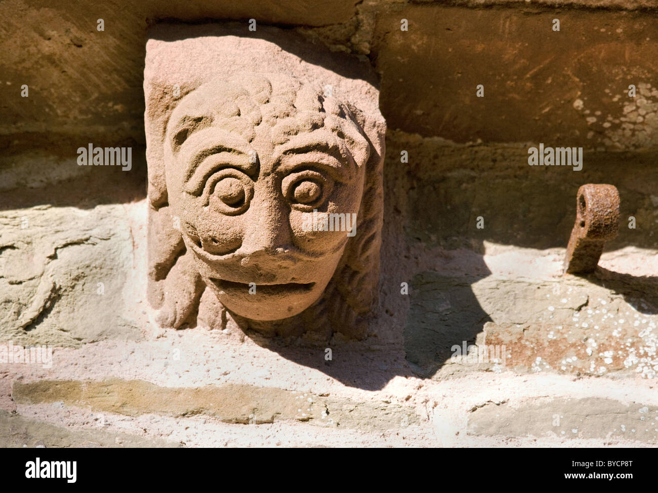 Carved corbel of a lion like beast on the walls of Kilpeck parish church near Hereford England - Stock Image