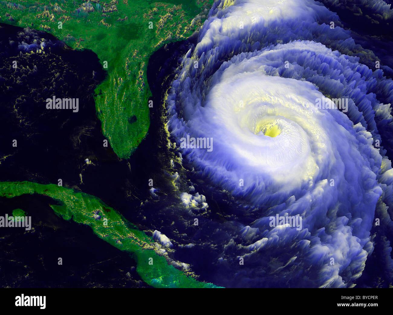 Hurricane Fran approaching Florida western Atlantic NOAA's GOES-8 Geostationary Operational Environmental Satellite - Stock Image