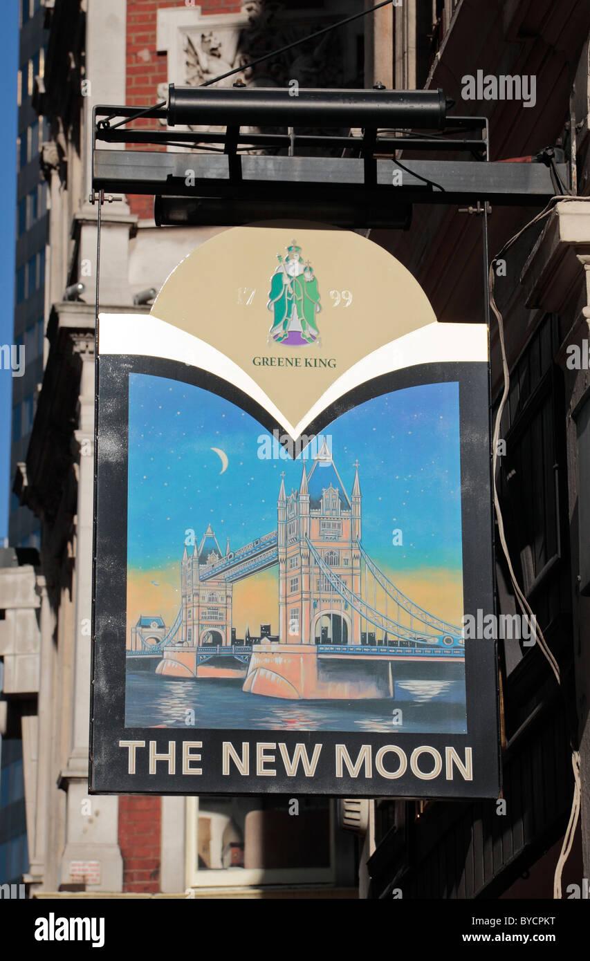 Sign above The New Moon public house, 88 Gracechurch Street, Leadenhall Market, London, UK. - Stock Image