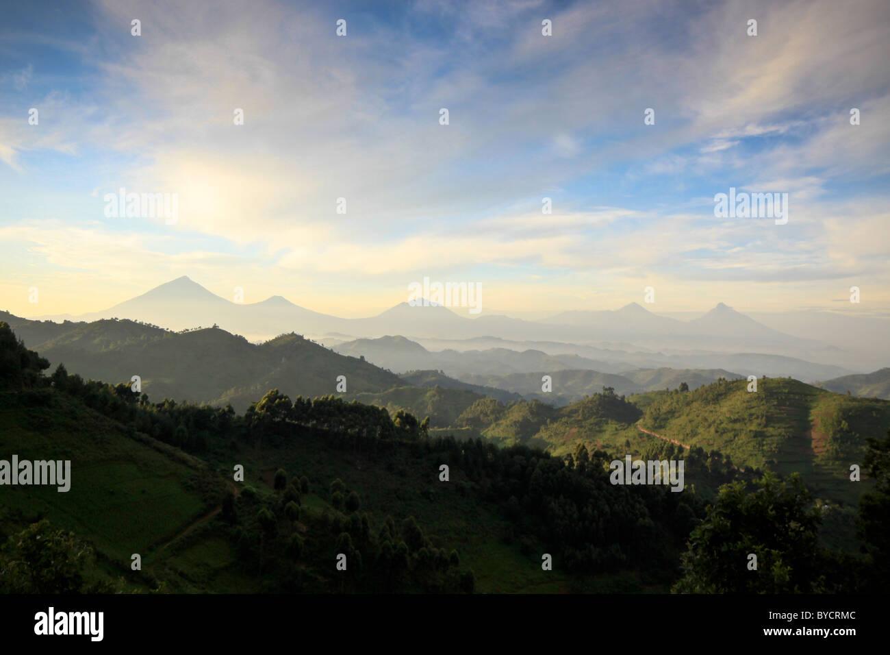 Bwindi and Virunga mountains, Uganda, Africa - Stock Image