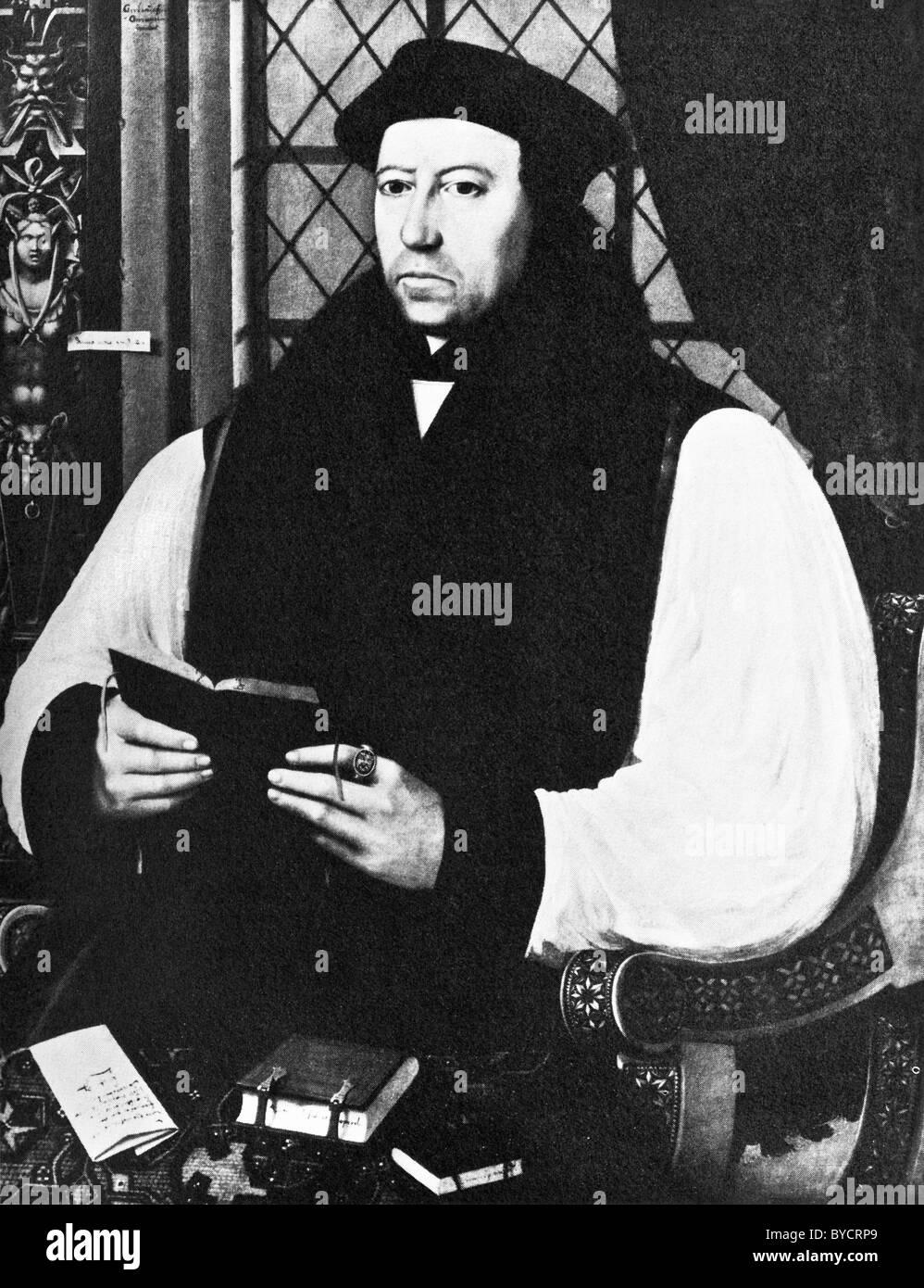 Portrait painting of Thomas Cranmer (1489 - 1556) - Protestant Archbishop of Canterbury and a leader of the English - Stock Image