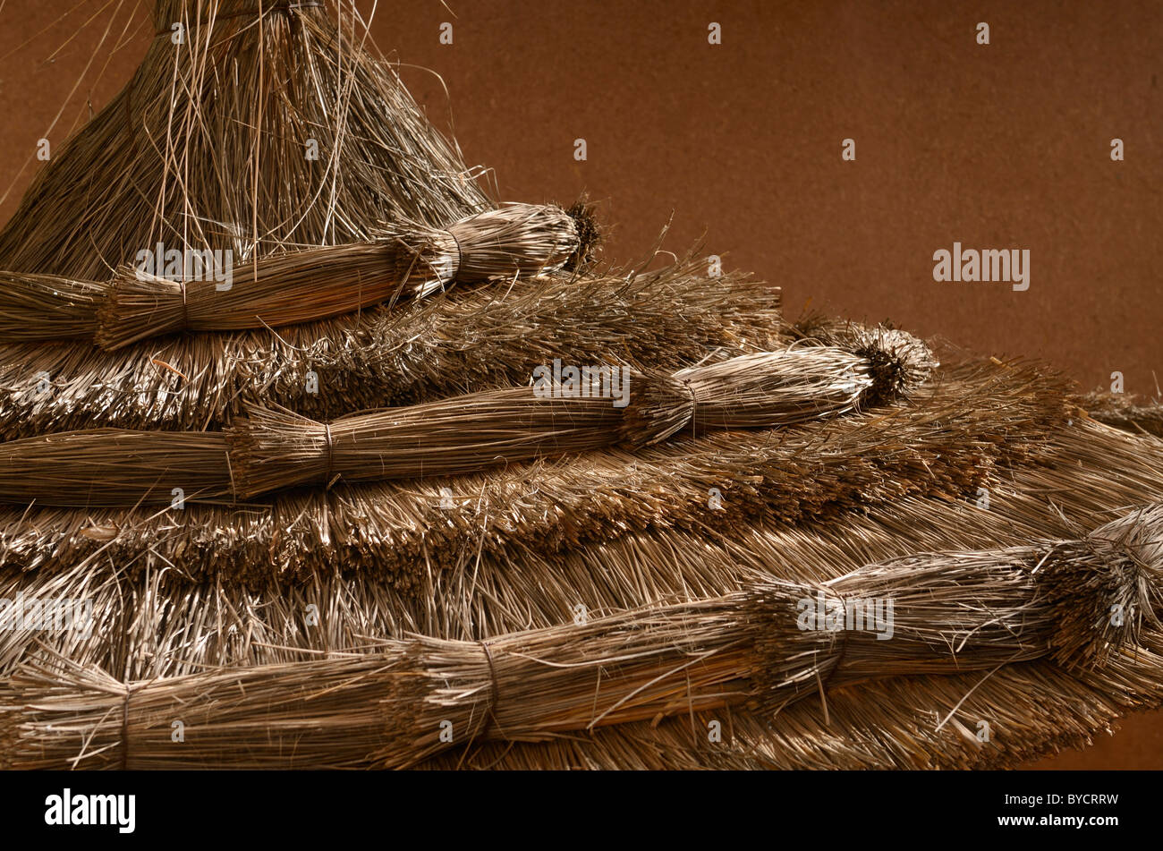 Abstract of straw umbrella inside Kasbah Amerhidil in the Skoura oasis Morocco - Stock Image