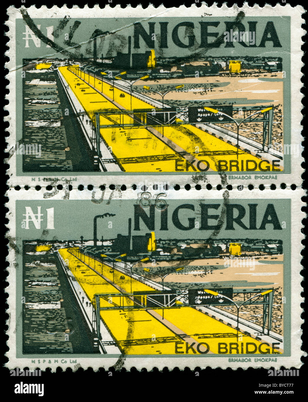 Sheet of two stamps from Nigeria with picture of highway Stock Photo