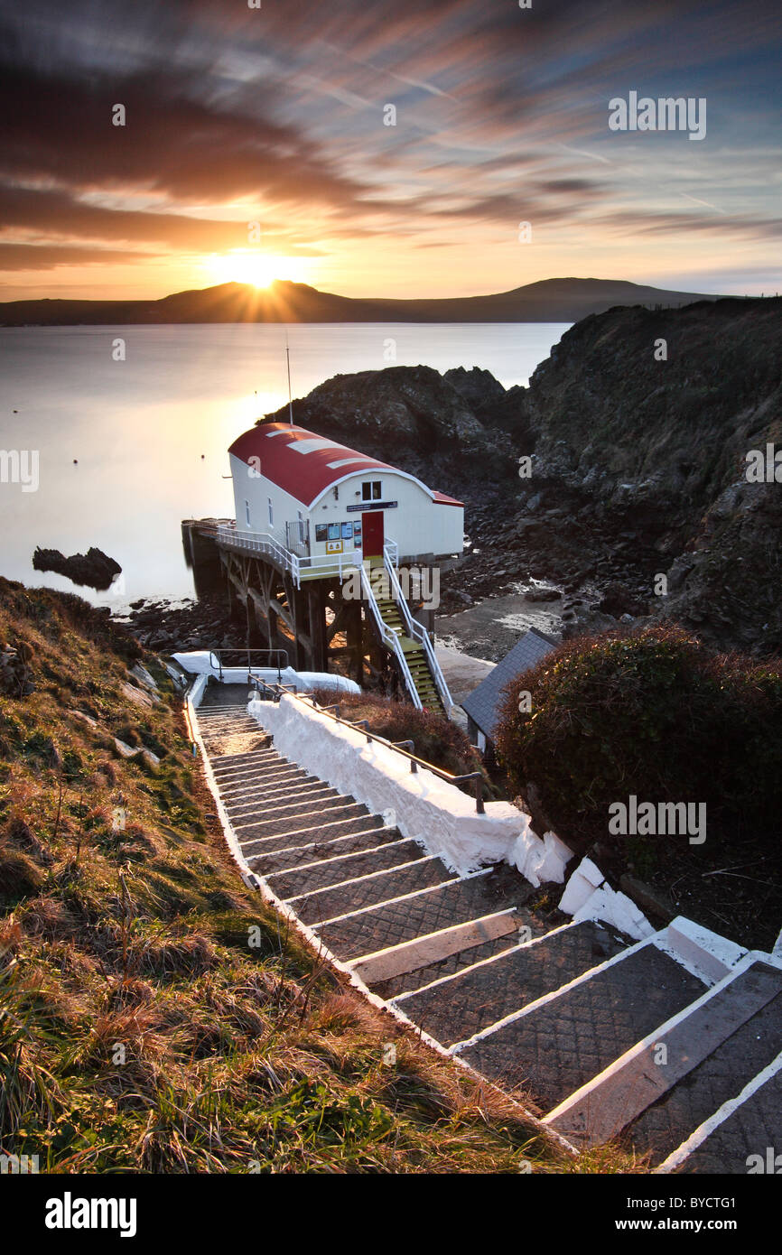 St. Justinian's Lifeboat House, St.Davids - Ramsey Island, Pembrokeshire, Wales, UK - Stock Image