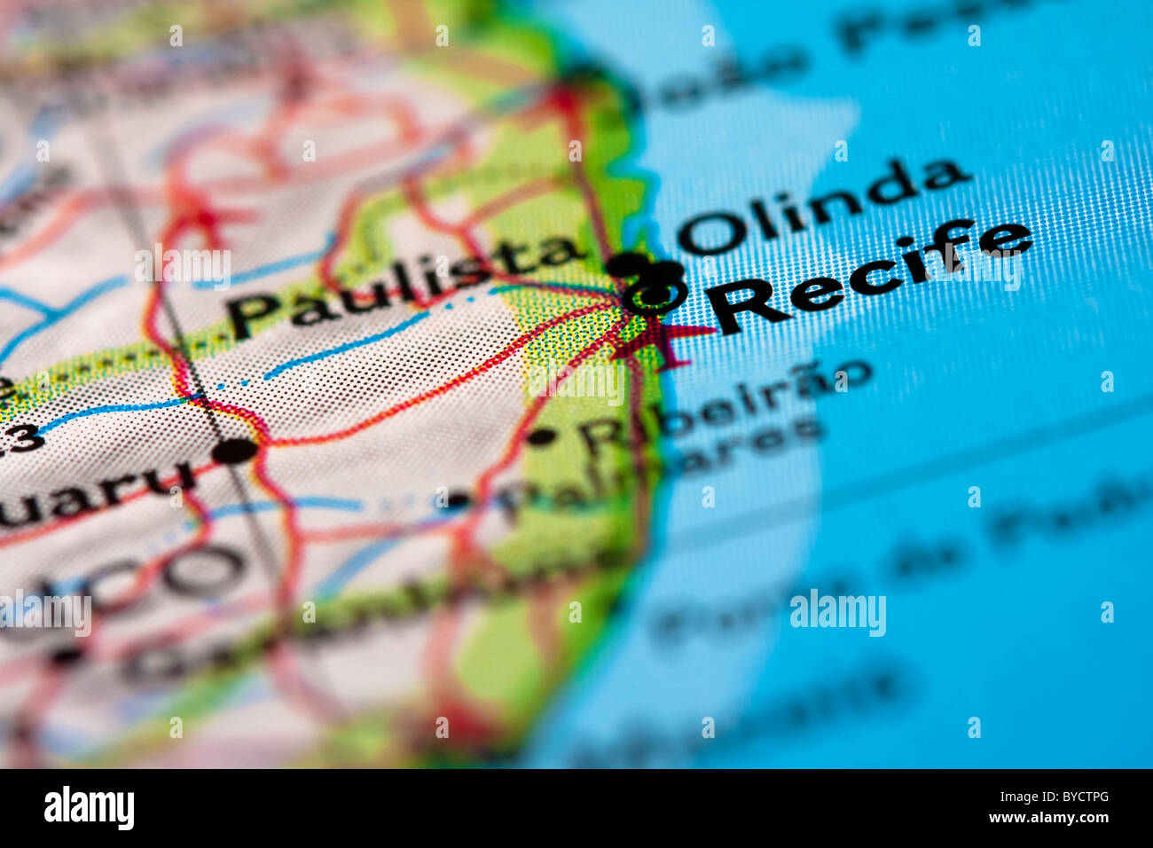 Recife in Brazil on the map. - Stock Image