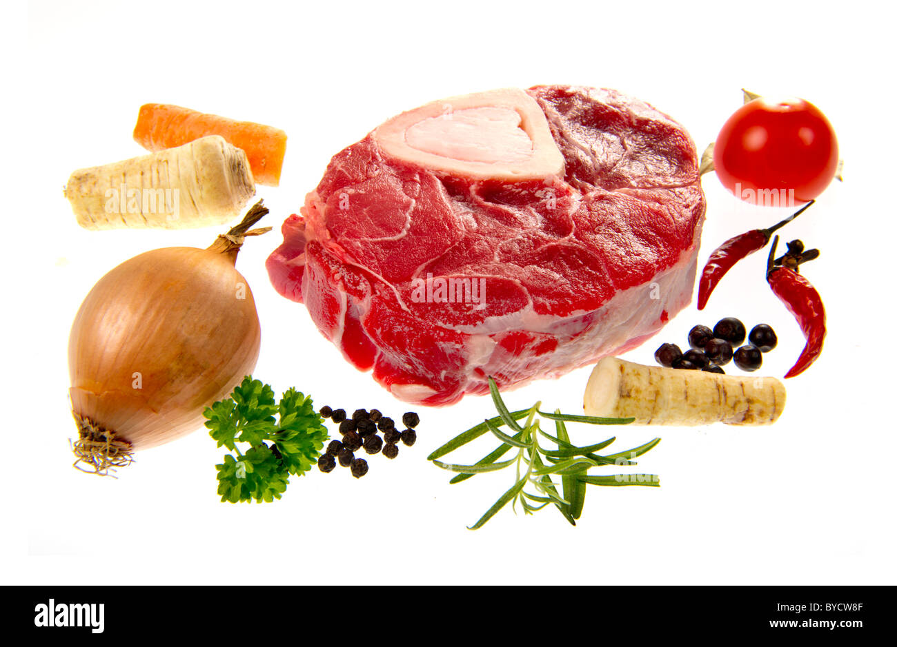 beef meat leg disc for soup boullion cook cooking food fine cuisine ingredients make kitchen produce production - Stock Image