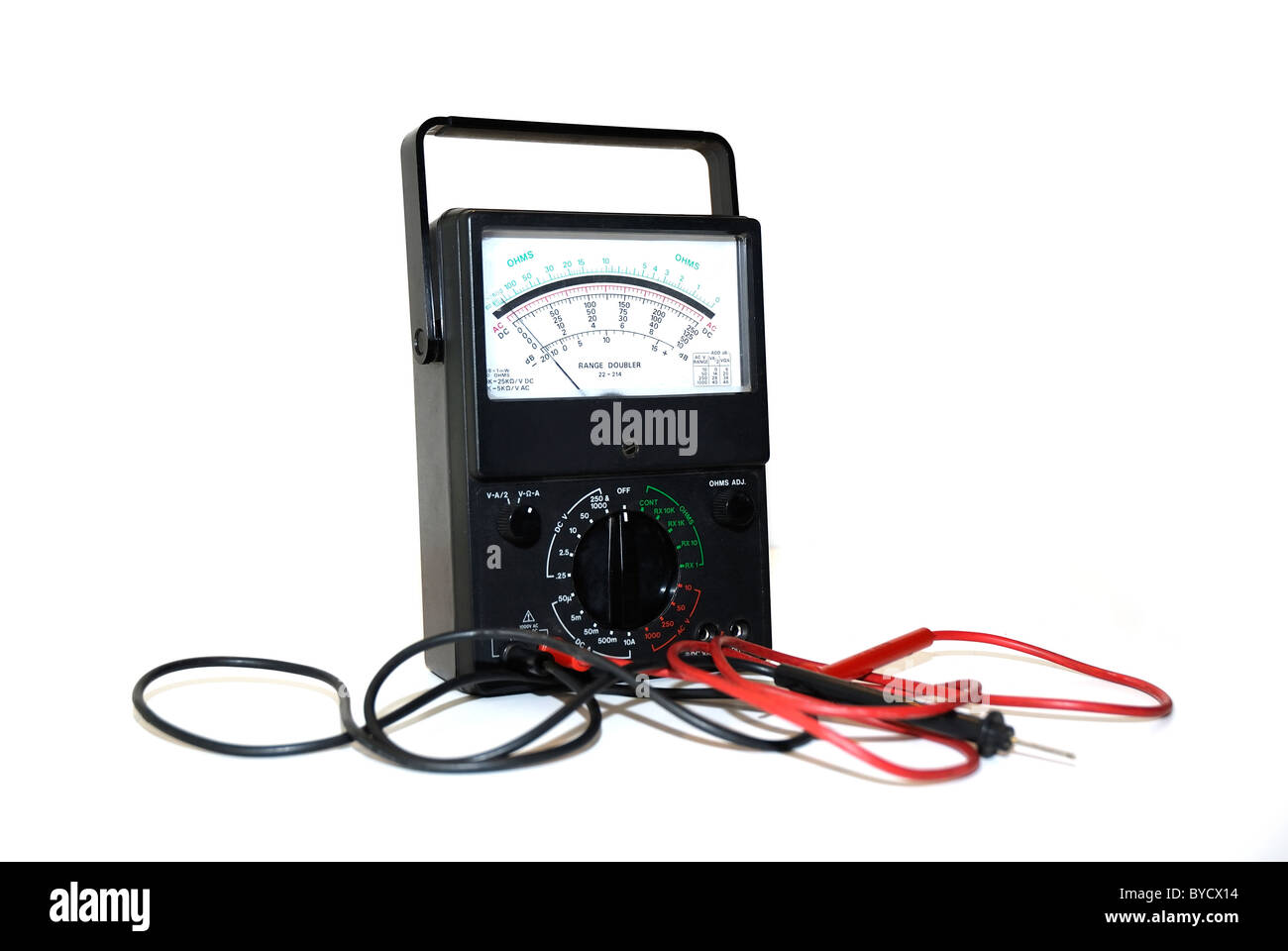 OHMS meter used to test electrical current - Stock Image