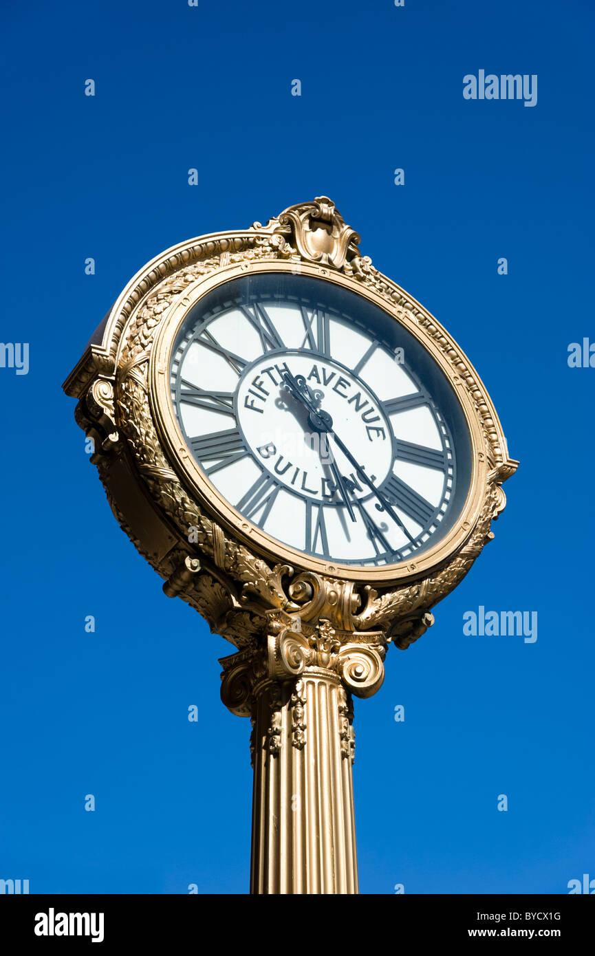 Fifth Avenue clock, New York City, USA - Stock Image