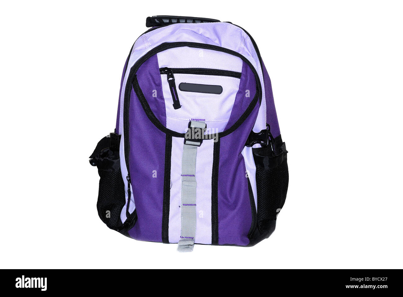 Students purple back pack isolated on white background - Stock Image