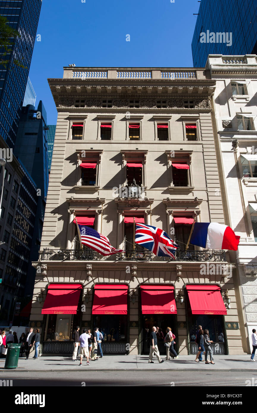 Cartier Store on Fifth Avenue, New York City, USA - Stock Image