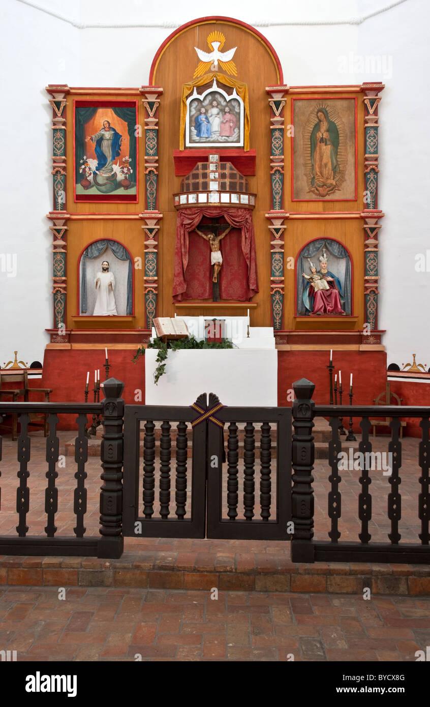 Altar, Franciscan Mission 'Espiritu Santo', - Stock Image