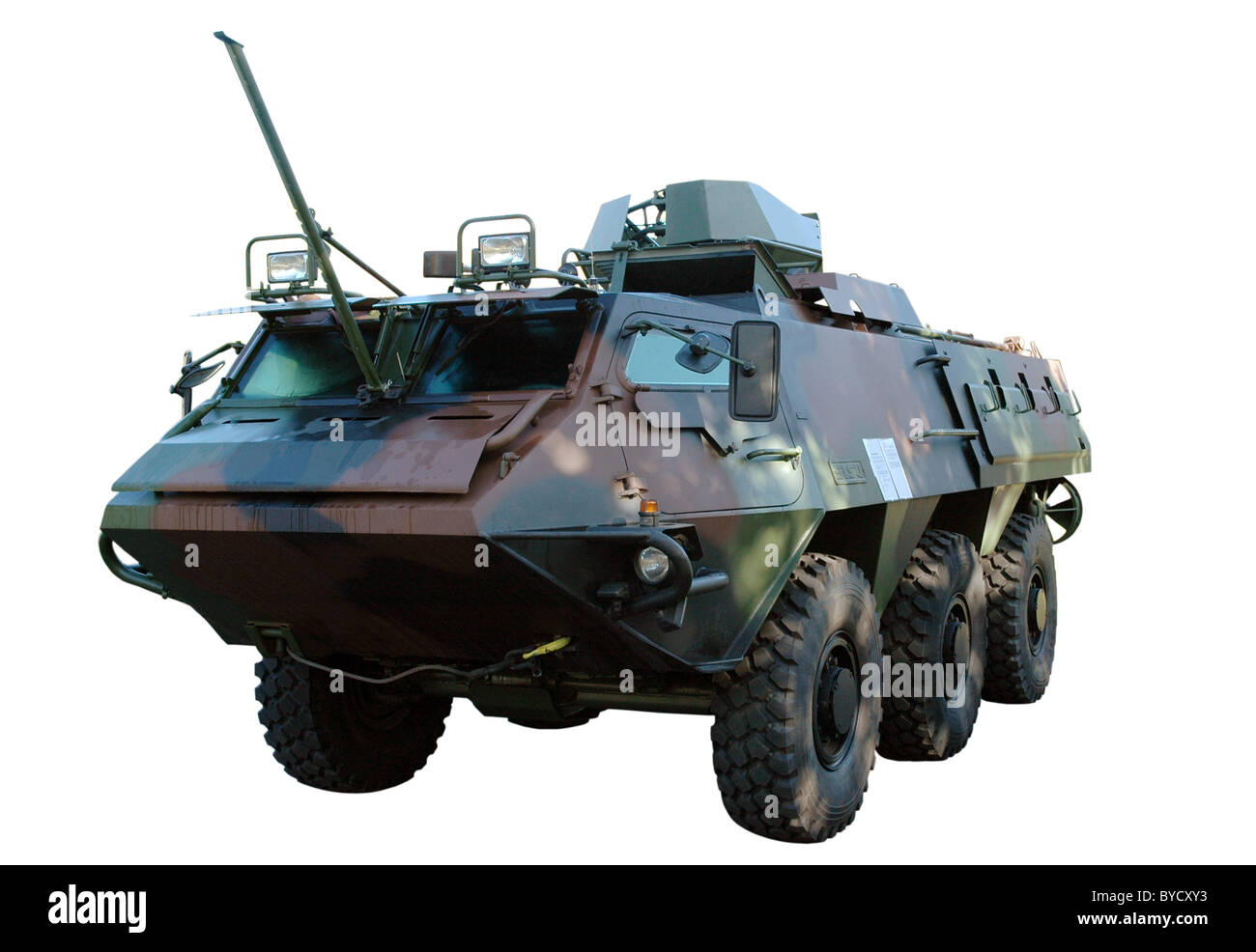 Army armored truck isolated on white. Clipping path included - Stock Image