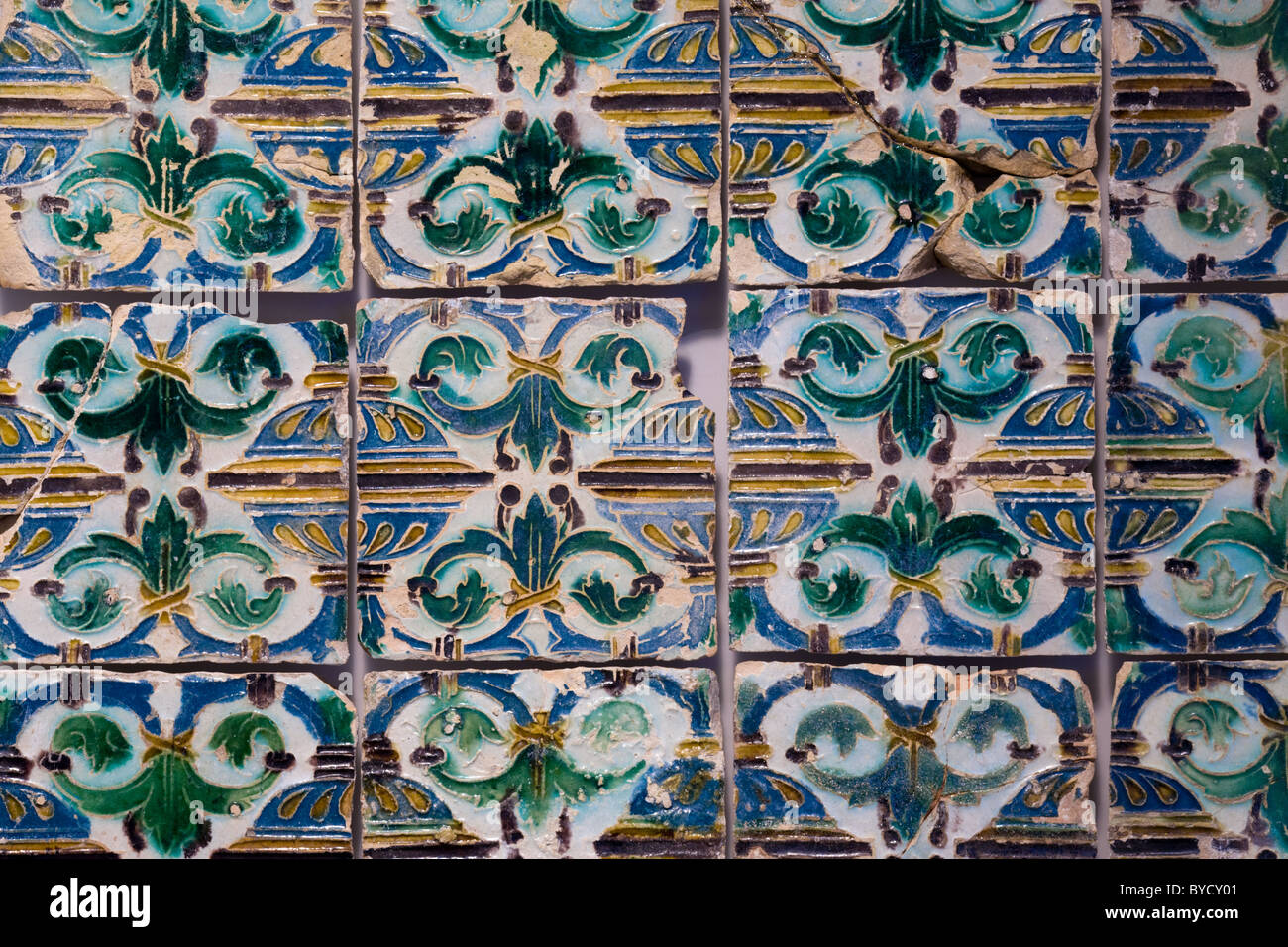 Ancient azulejos (tiles), Alfama, Lisbon, Portugal Stock Photo