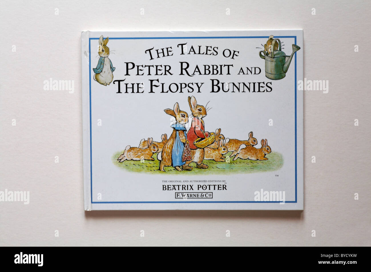 The tales of Peter Rabbit and the Flopsy Bunnies hardback book by Beatrix Potter isolated on white background - Stock Image