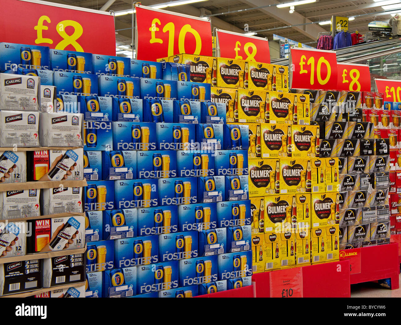 packs of cheap beer in an Asda supermarket, UK - Stock Image