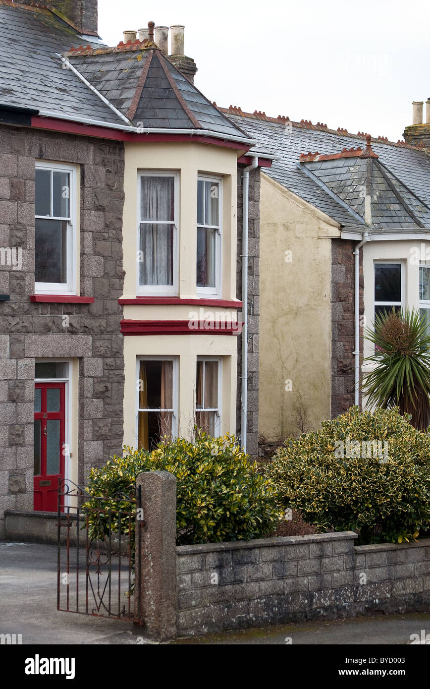 A Victorian period semi detached house in Redruth, Cornwall, UK Stock Photo