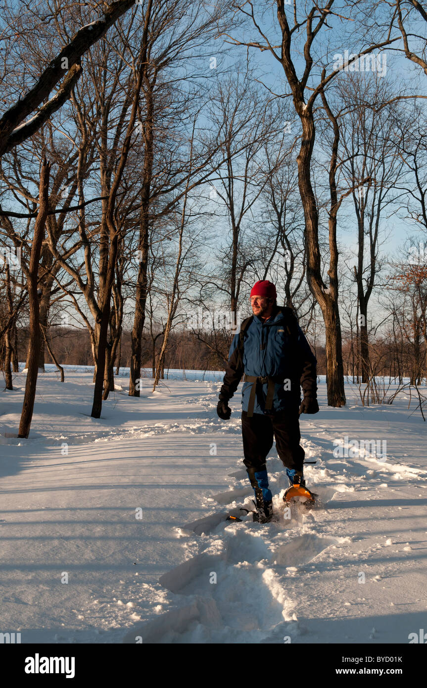 Man on snowshoes on a trail in Massachusetts - Stock Image