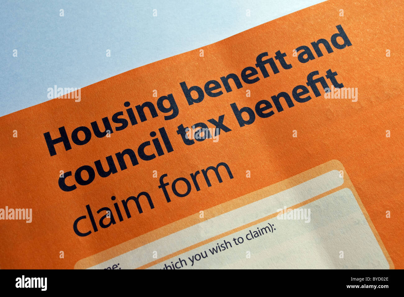 Housing Benefit Form | A Housing And Council Tax Benefit Form Stock Photo 34091526 Alamy