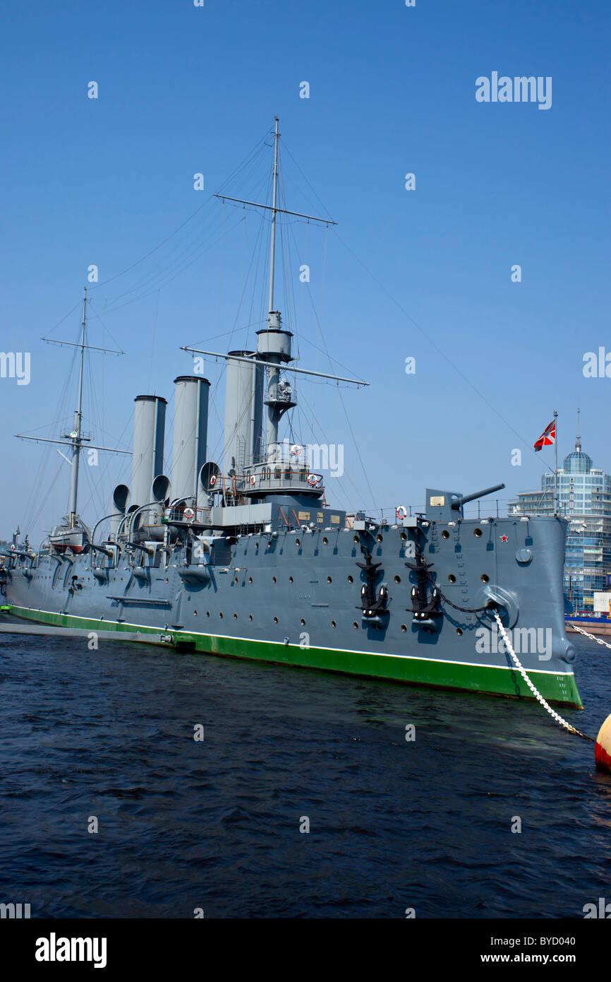 Cruiser Aurora battleship St Petersburg Leningrad - Stock Image
