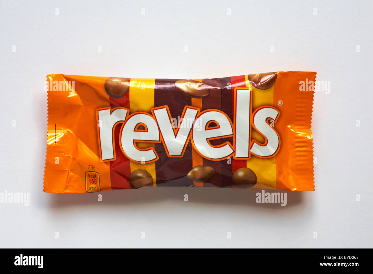 bag of Revels chocolates isolated on white background - Stock Image