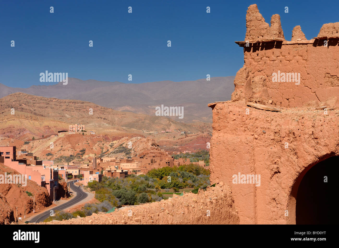 Road up the red Dades Gorge in the High Atlas mountains from the crumbling Kasbah Ait Youl rooftop Morocco - Stock Image