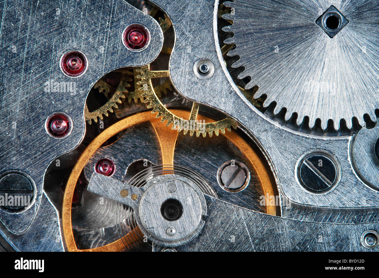 Mechanical jewel watch clockwork , super macro - Stock Image