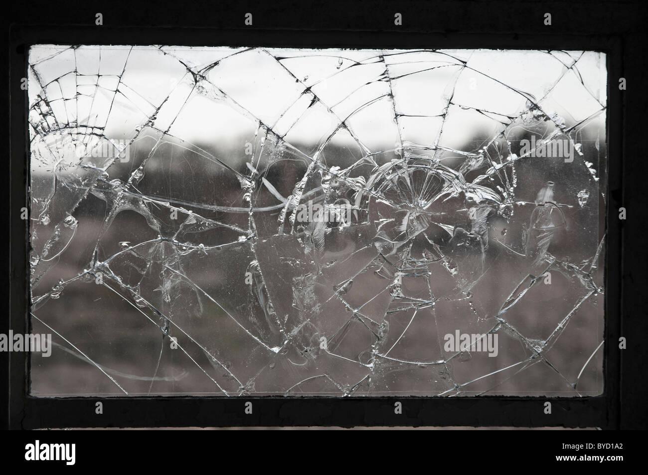 laminated cracked Broken  window - Stock Image