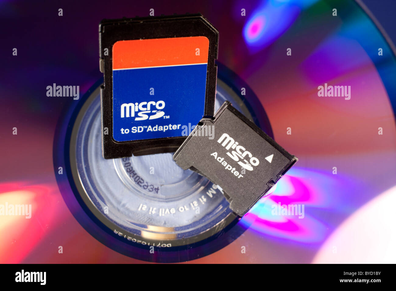 Micro Sd Adapter Stock Photos Images Alamy Adaptor Memory Adapters On A Dvd Background Image