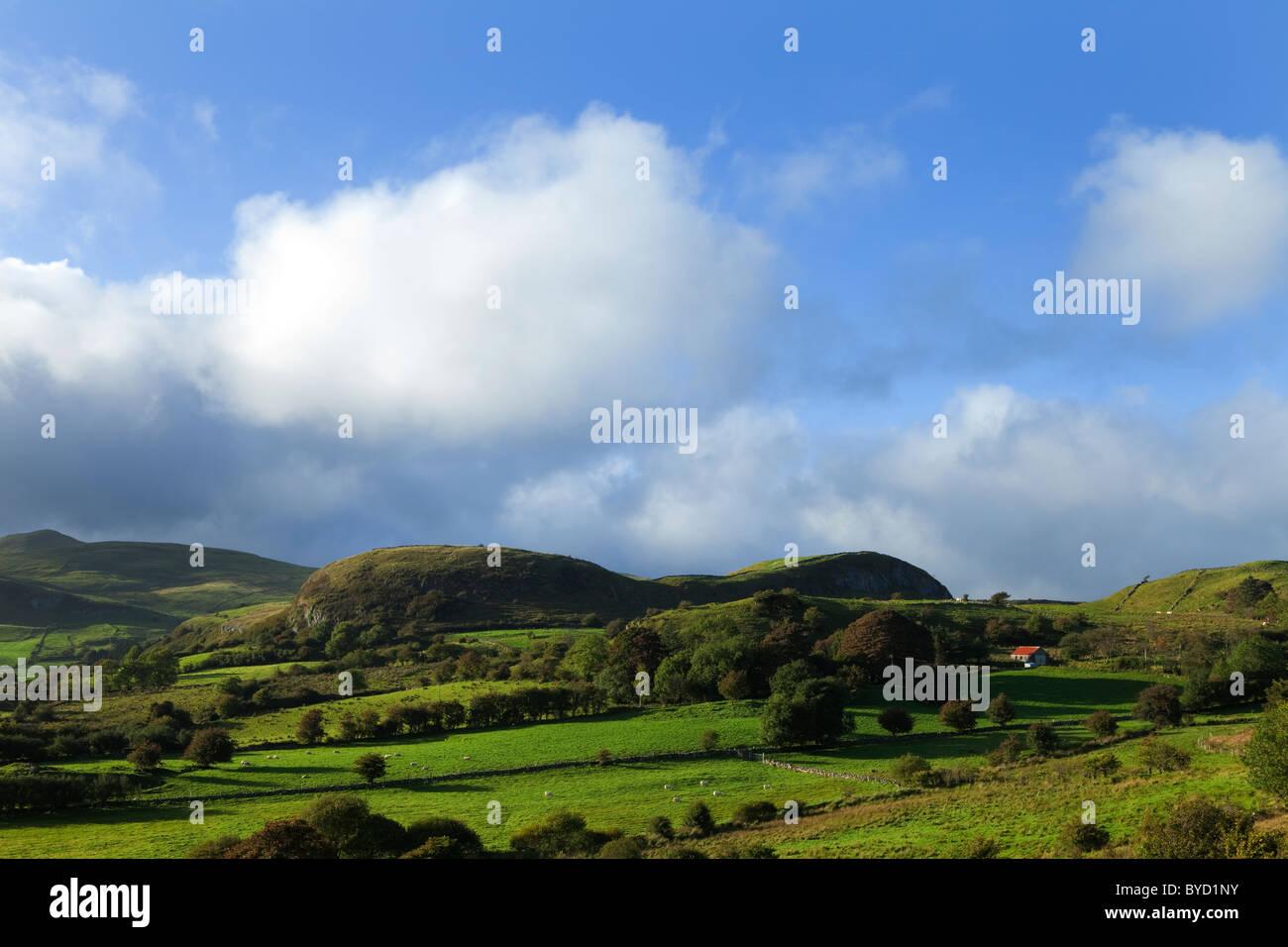 Pastoral Countyside and Hill Farm Near Leean Mountain, County Leitrim. Ireland Stock Photo