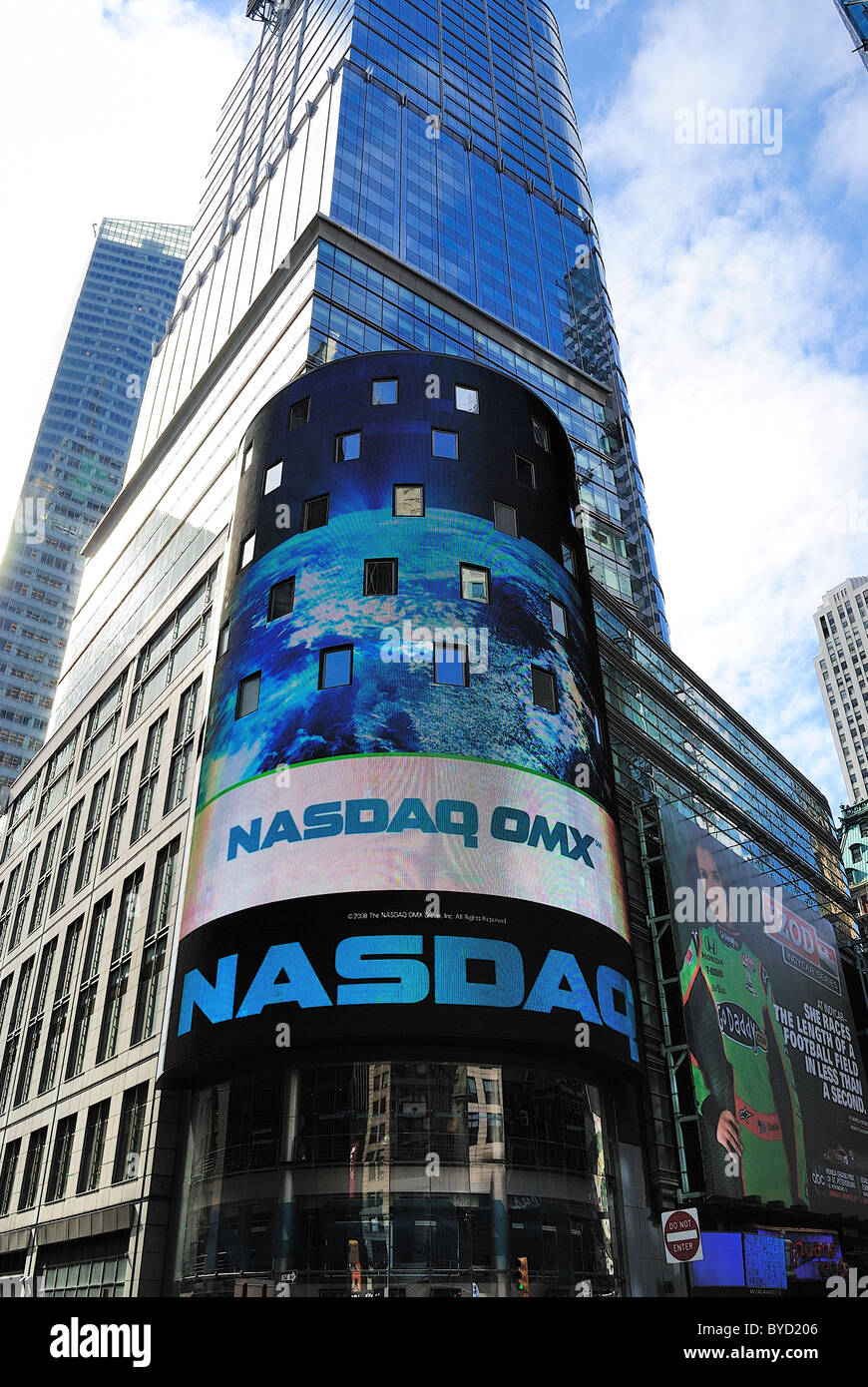 The electronic NASDAQ billboard in Times Square. New York City. April 18, 2010. - Stock Image
