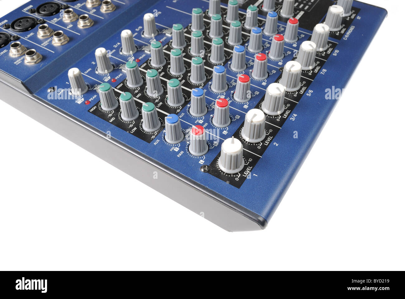 A mixing board on a preamp for amplifying audio signal. - Stock Image