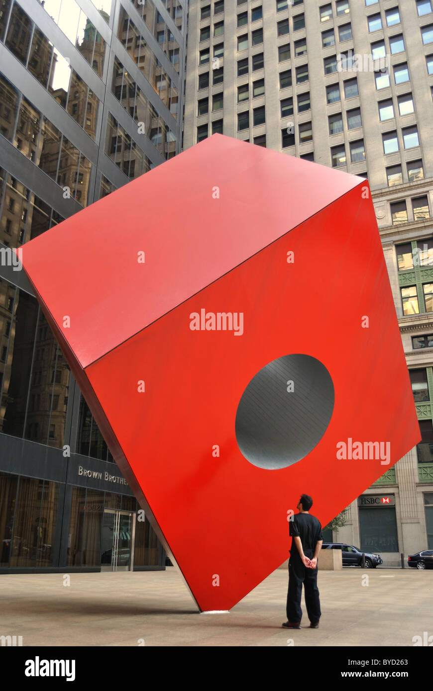 Noguchi's Cube at the HSBC Building in the Financial District of New York City. April 11, 2010. - Stock Image