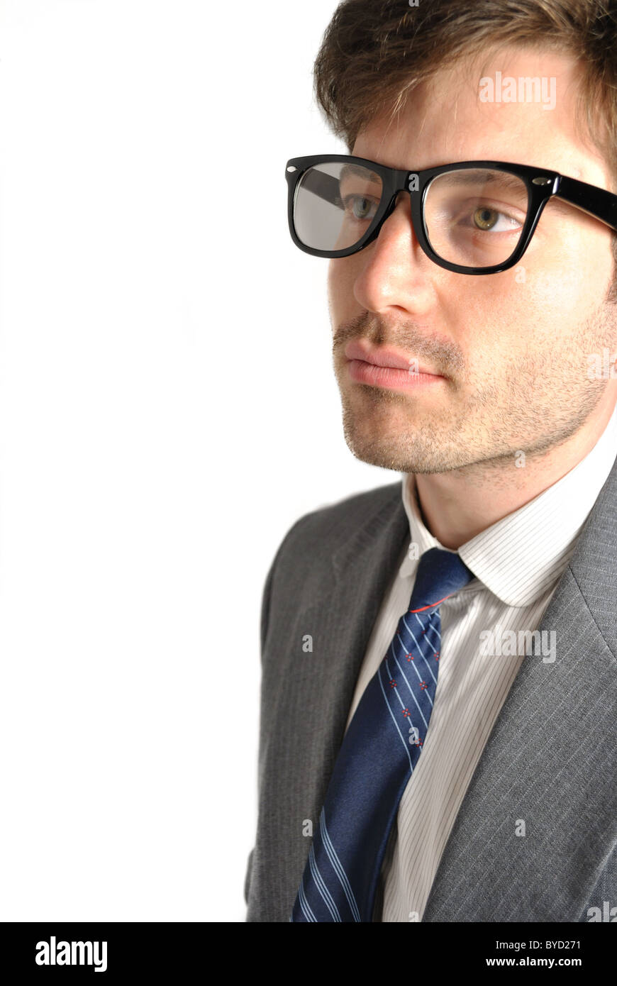 Portrait of a man with glasses. - Stock Image