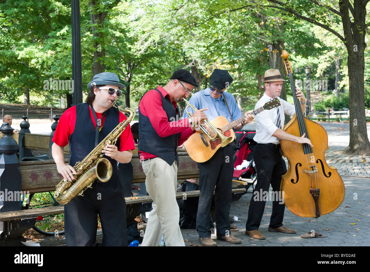 Buskers in Central Park, New York City, USA - Stock Image
