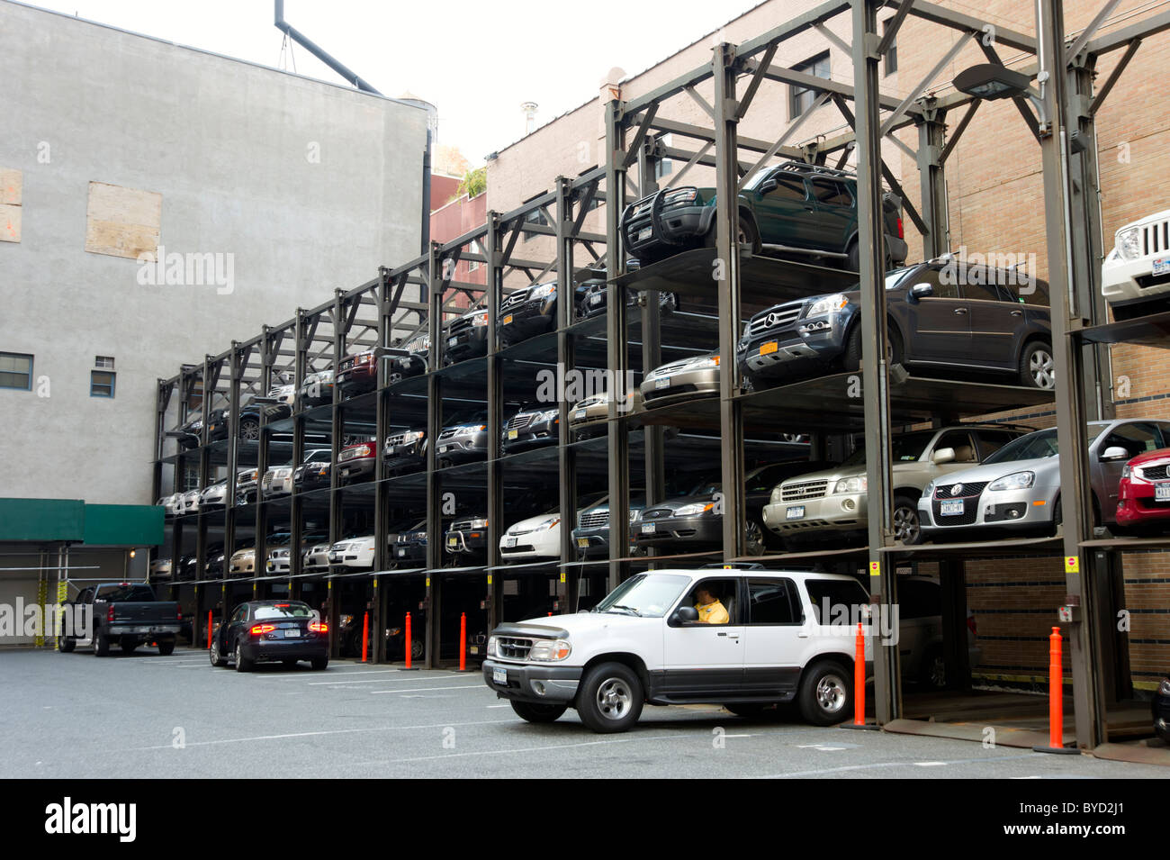 Elevator car parking lot new york city usa stock photo for Garage orleans auto