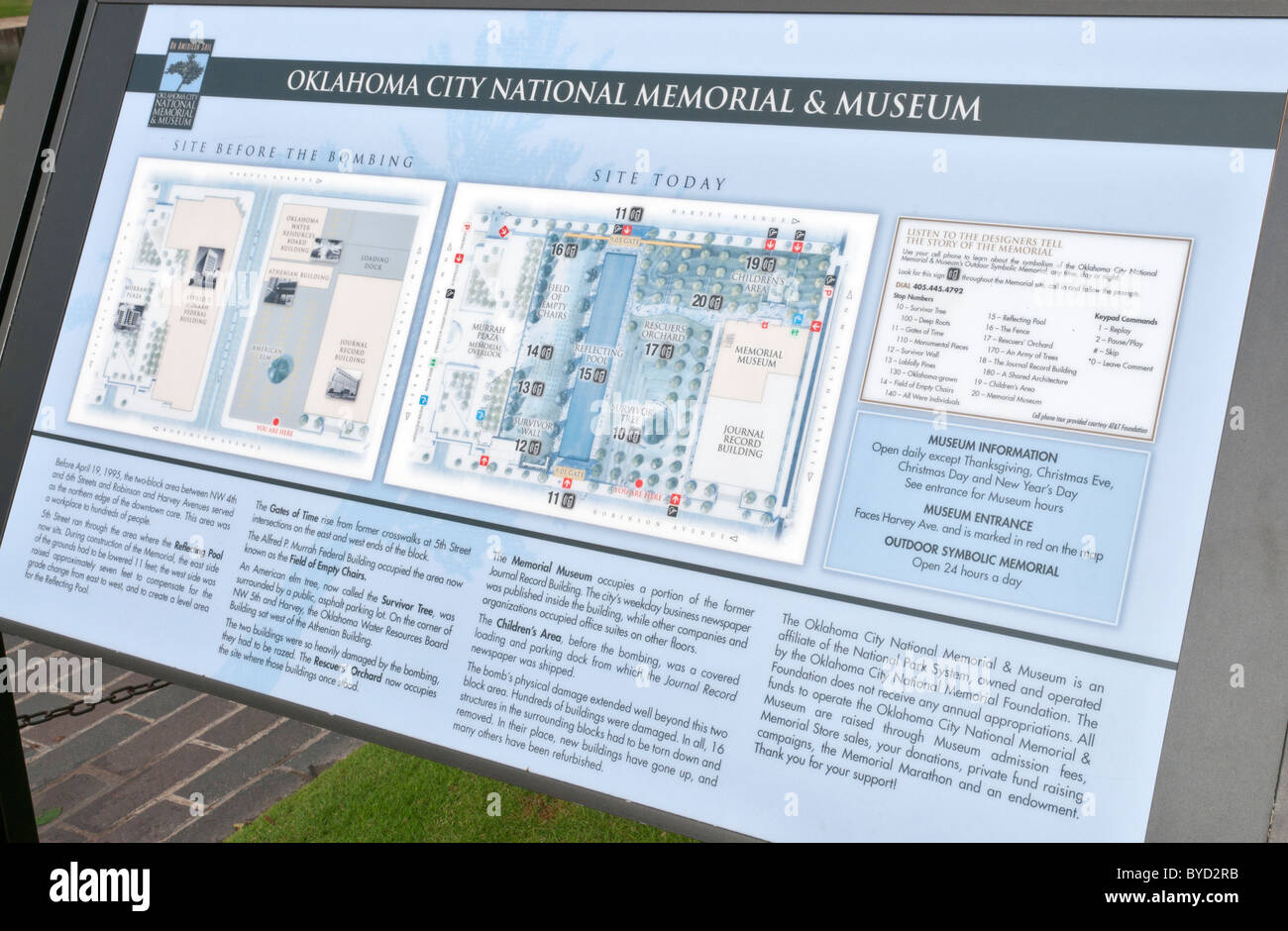Oklahoma City National Memorial & Museum, dedicated to victims of the Alfred P. Murrah Federal Building bombing Stock Photo