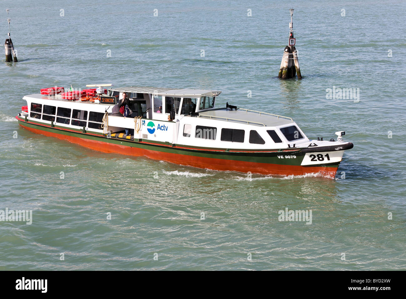 Vaporetto (boat bus) in Venice, Italy - Stock Image