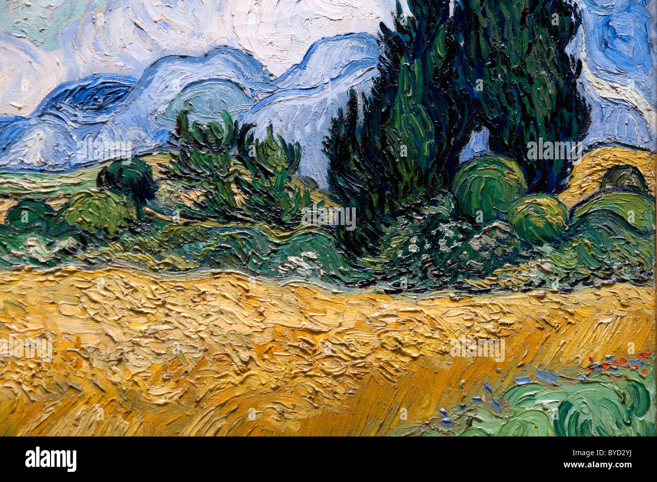 Detail: Wheat Field with Cypresses, 1889, by Vincent van Gogh, - Stock Image