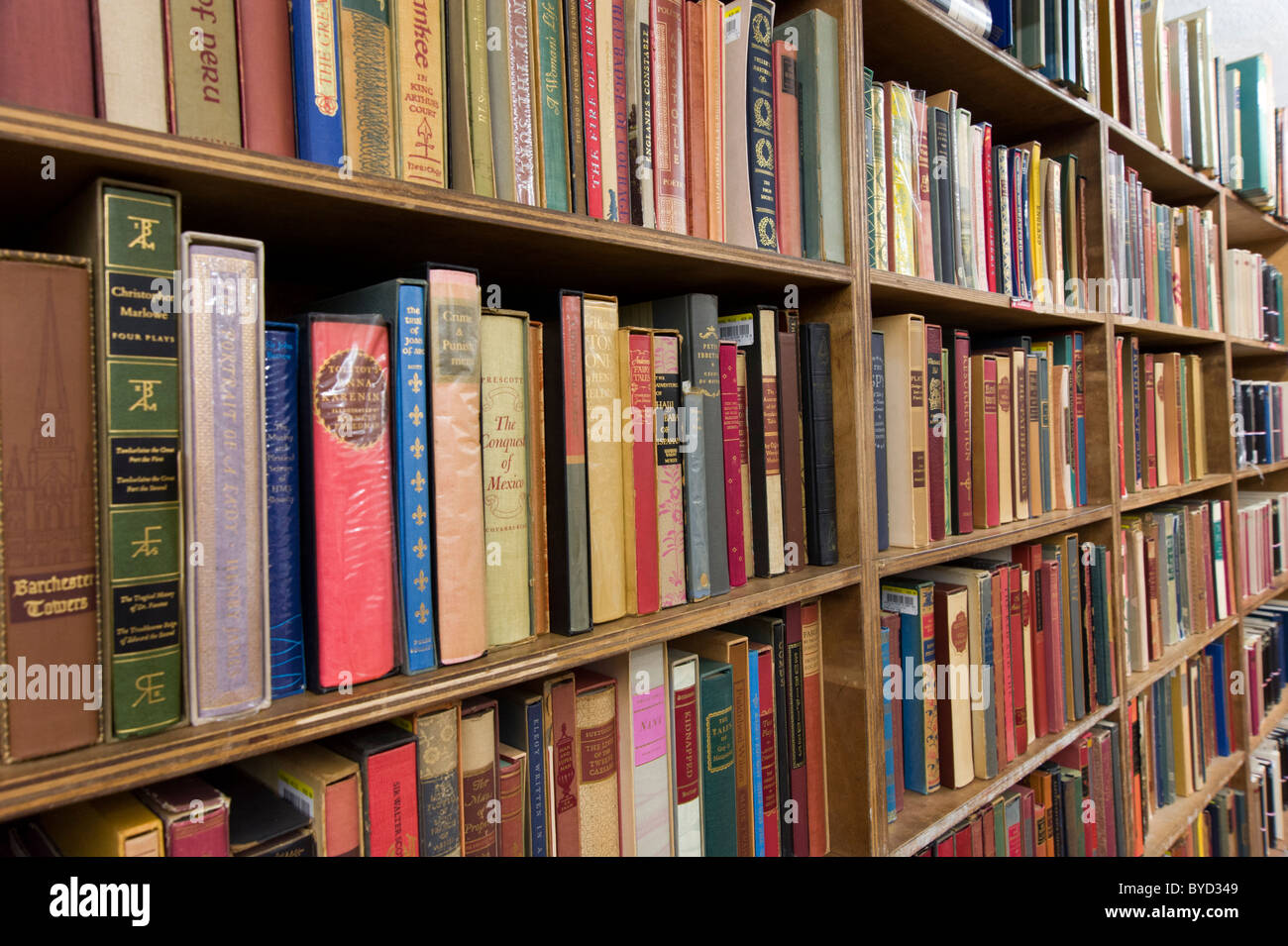 Bookshelves in the Strand Bookstore on Broadway, New York City, USA - Stock Image