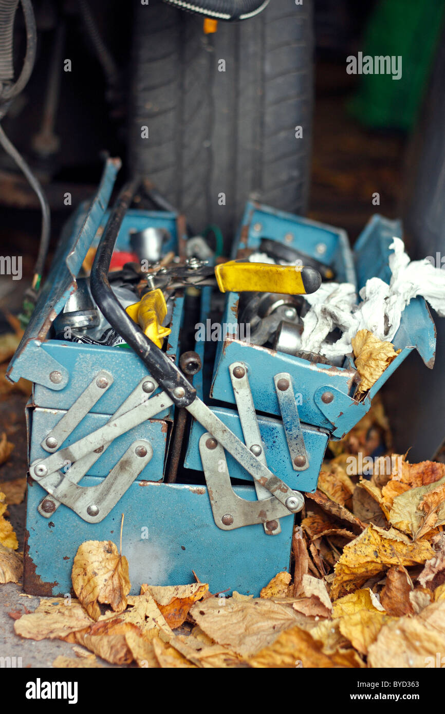 An old blue rusty metal tool box lying on the floor of a garage, amongst a pile of dead leaves, and in front of - Stock Image