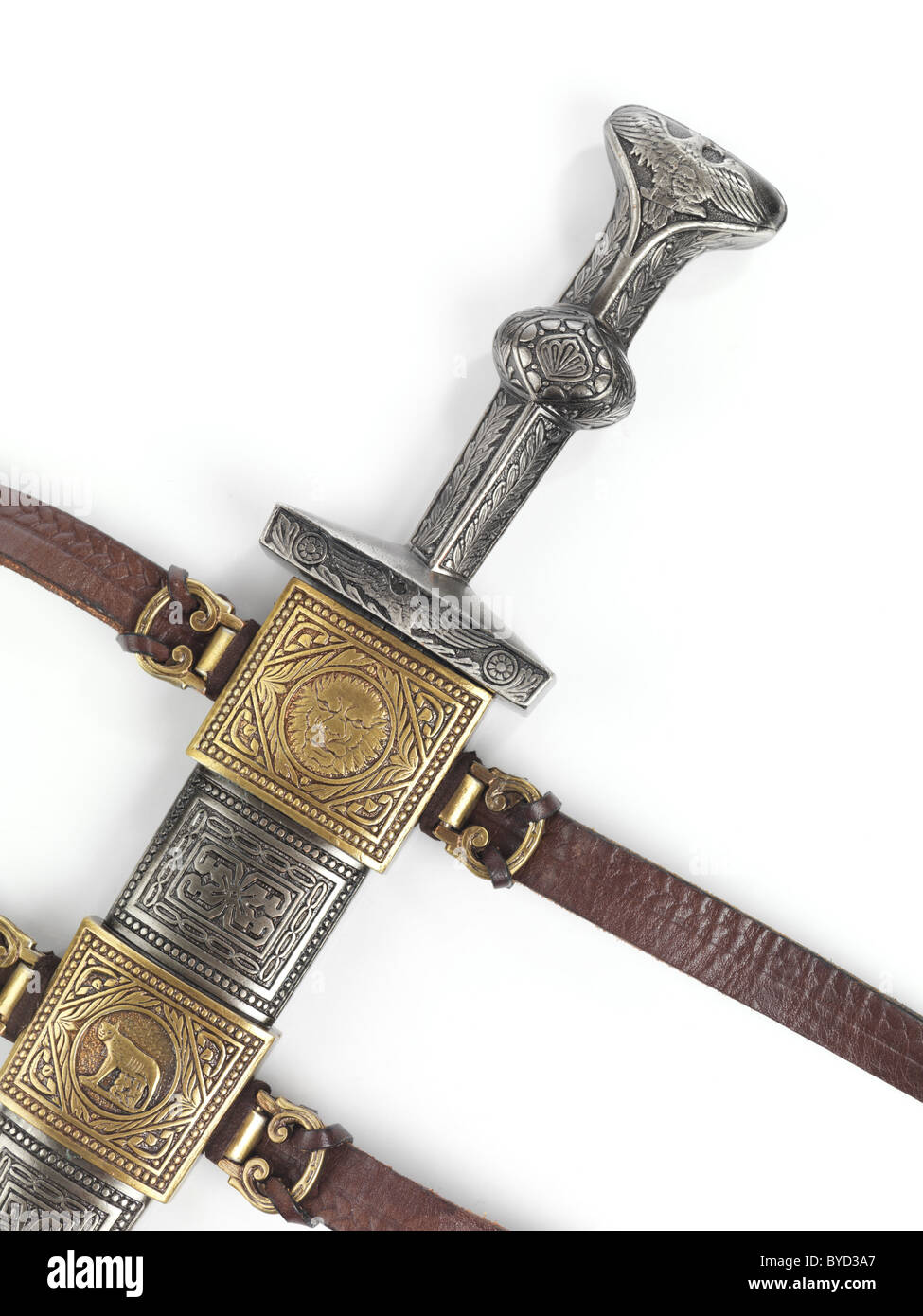 Antique Roman dagger short sword in scabbard isolated on white background - Stock Image