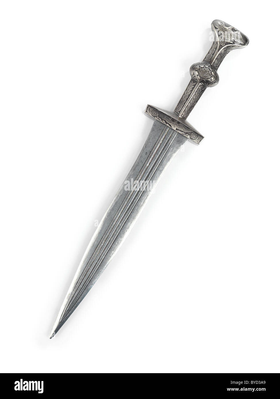Antique Roman dagger short sword isolated on white background - Stock Image