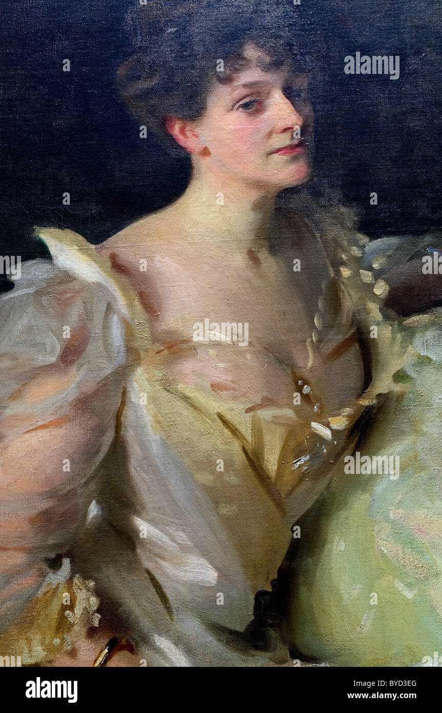 Detail: The Wyndham Sisters: Lady Elcho, Mrs. Adeane, and Mrs. Tennant, 1899, by John Singer Sargent - Stock Image