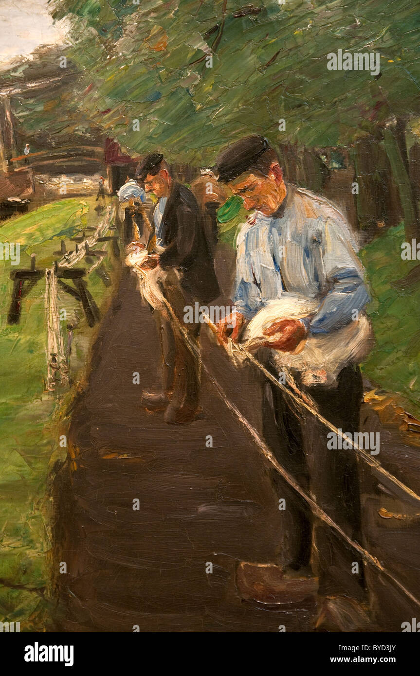 Detail: The Ropewalk in Edam, 1904, by Max Liebermann - Stock Image