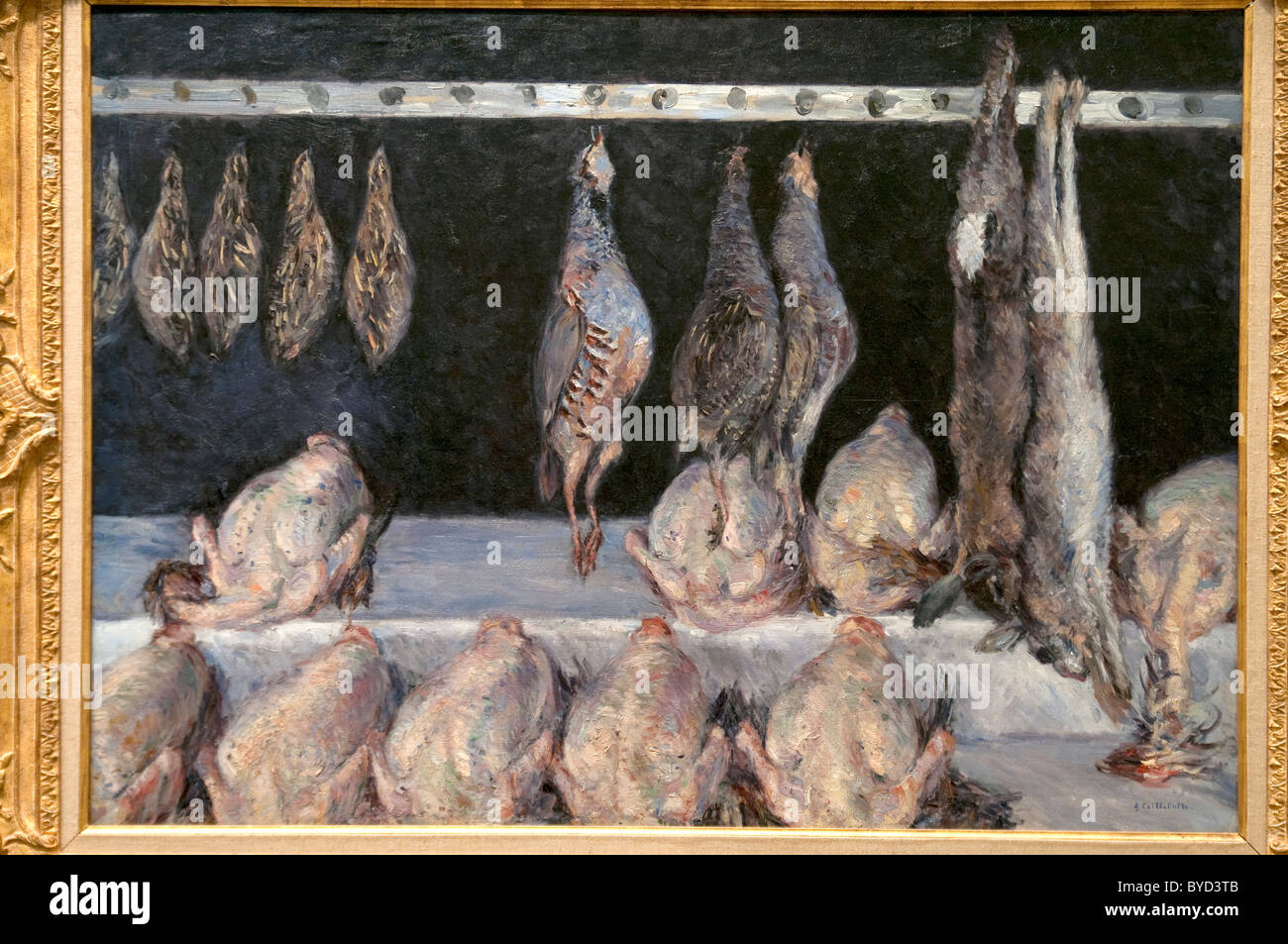 Display of Chickens and Game Birds, ca. 1882, by Gustave Caillebotte - Stock Image