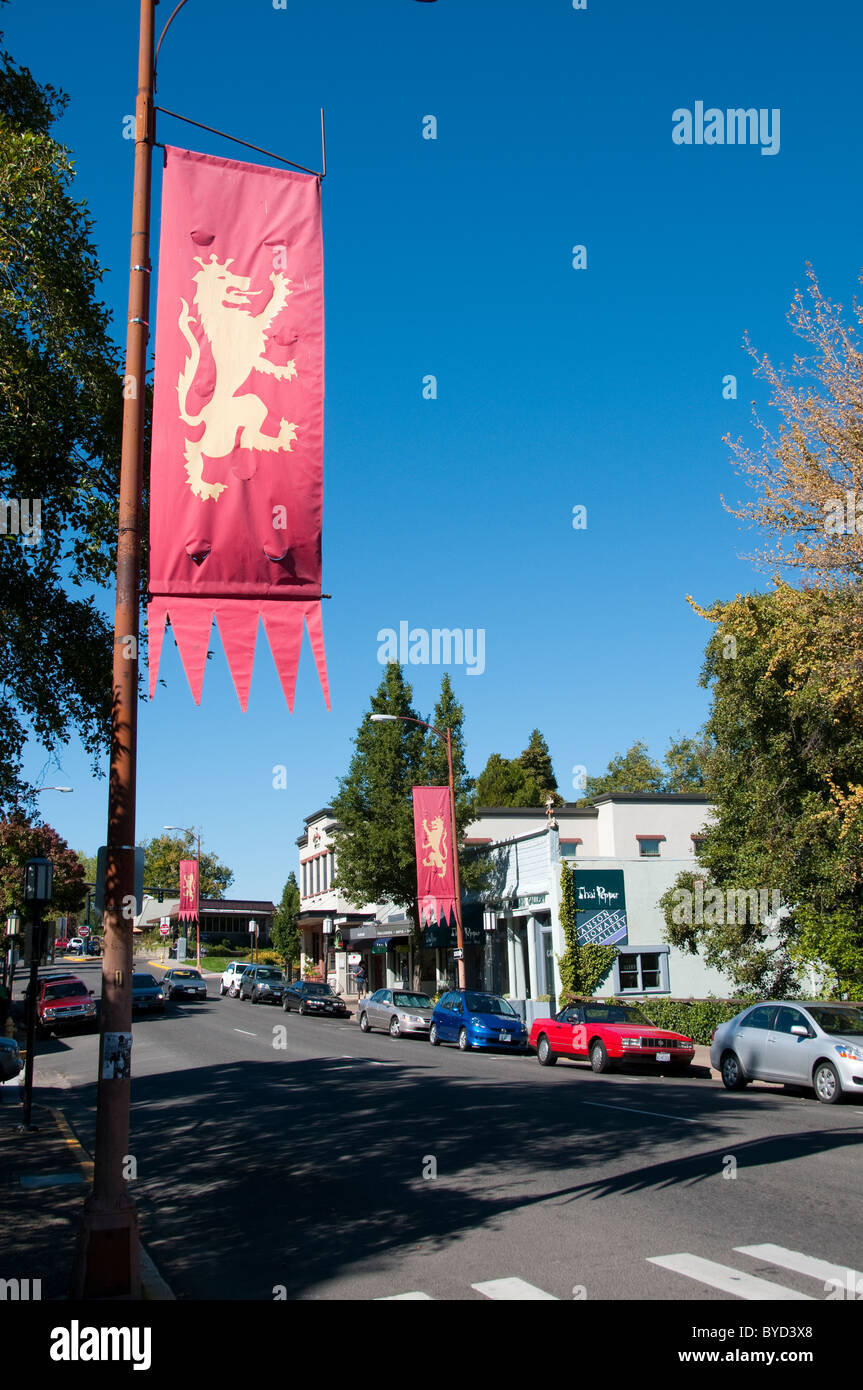 Downtown Ashland Oregon, banners for Shakespeare Festival.  Photo # oregon-ashland-oregon105636 - Stock Image