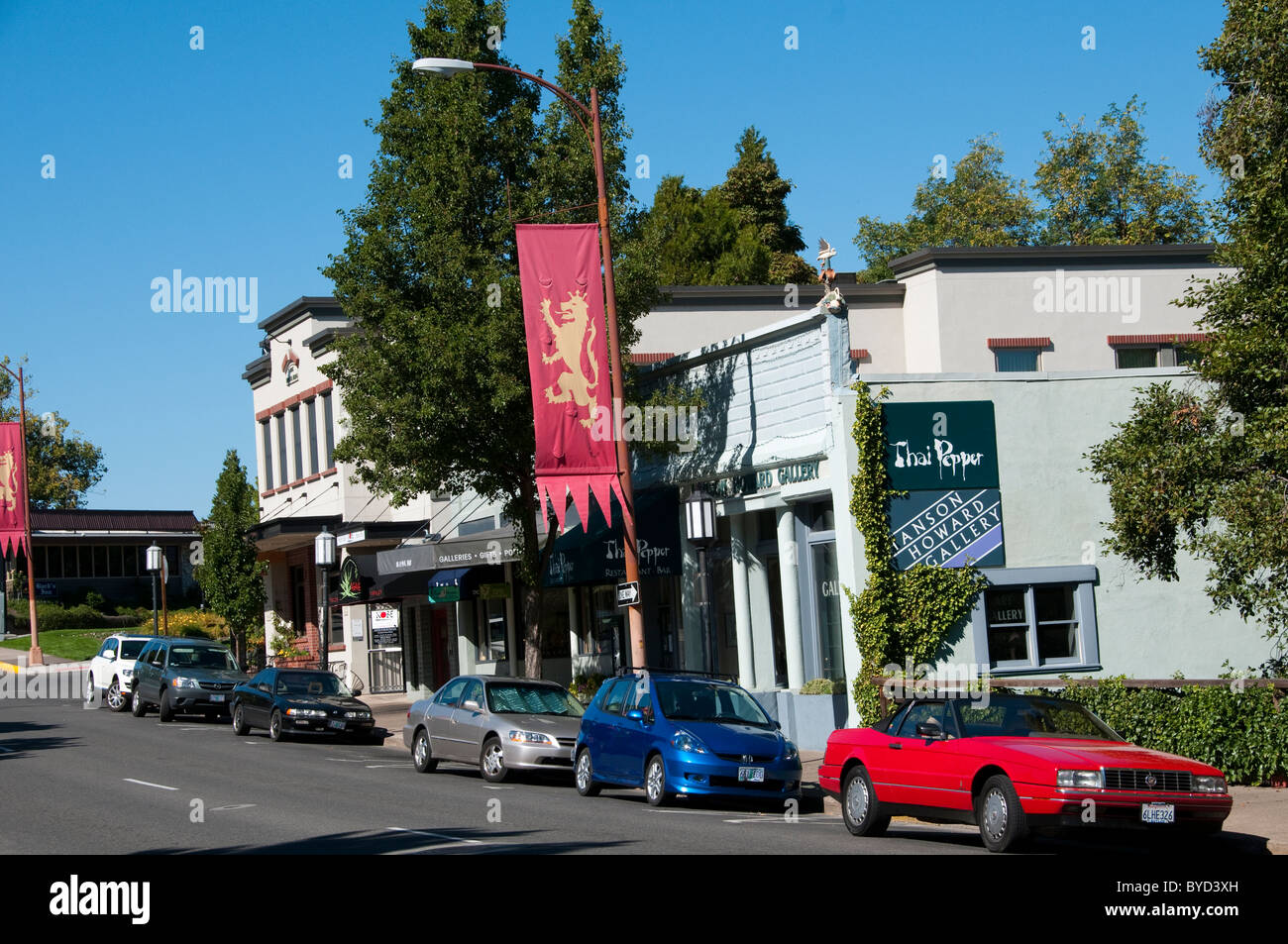 Downtown Ashland Oregon ,  banners for Shakespeare Festival.  Photo  # oregon-ashland-oregon105641 - Stock Image