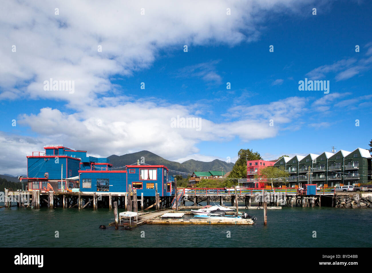 Boats at a floating pier in Tofino, BC, Canada - Stock Image