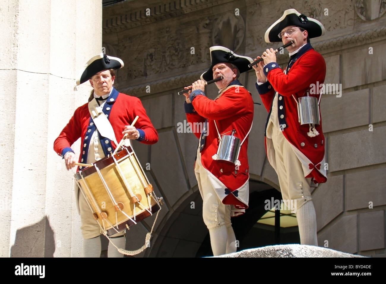 May 01, 2010, New York. Drum and Fife band playing at Federal Hall NYC. - Stock Image