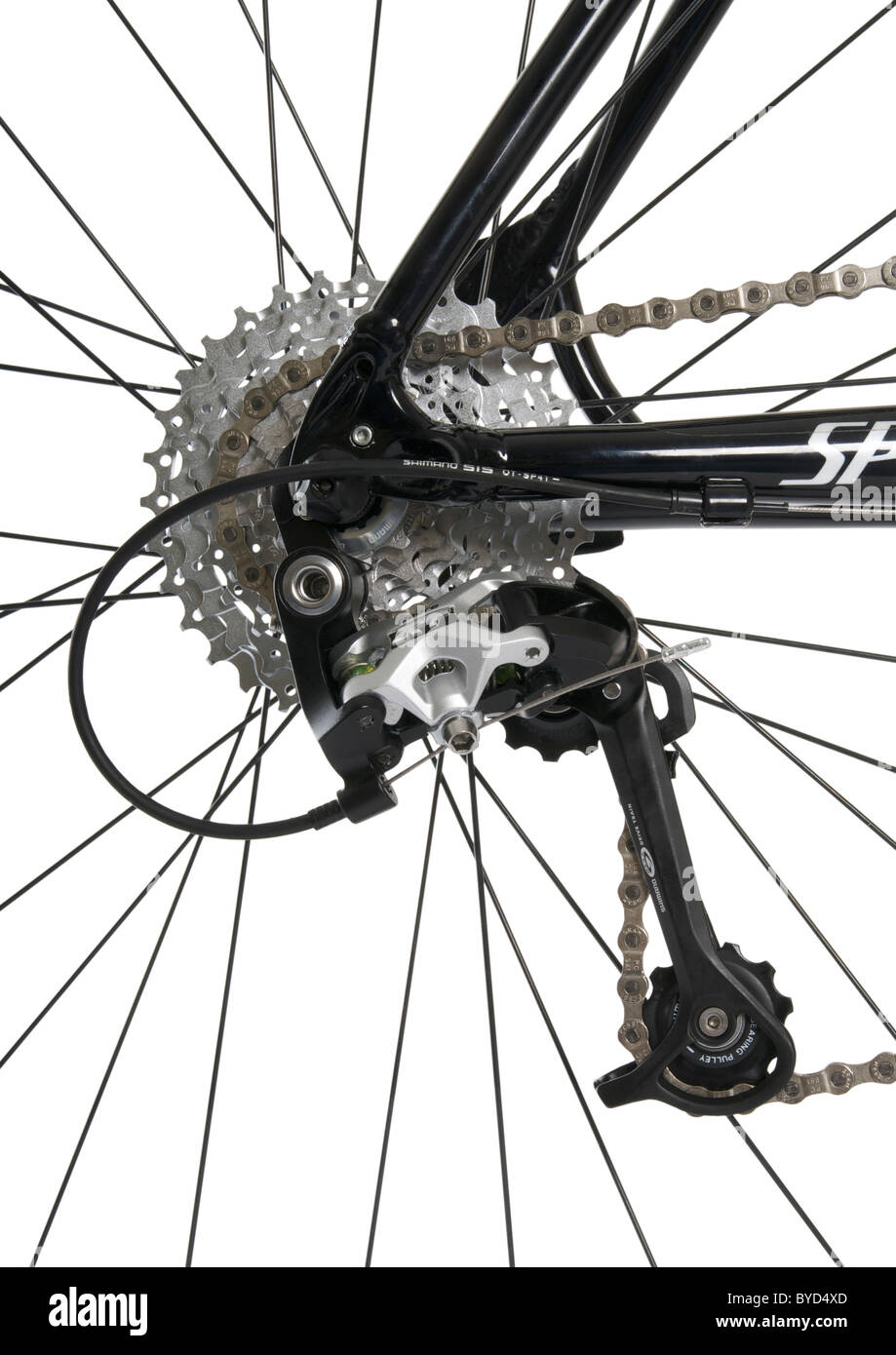 Mountain bike rear derailleur, chain and cassette on white background - Stock Image